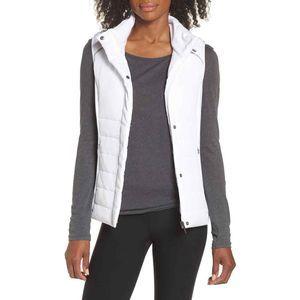 Zella Coco Hybrid Vest S Zip Up Hooded Funnel Neck
